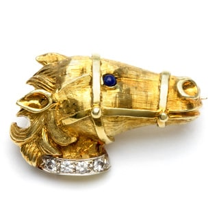 18k Gold Sapphire and 1/5ct TDW Diamond Horse Estate Brooch (I-J, VS1-VS2)