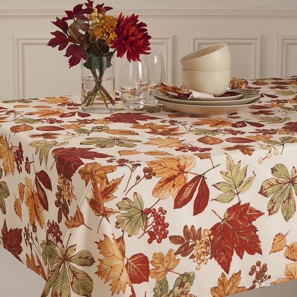 Glen Wood Fall Leaves Micro Fiber Tablecloth