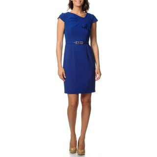 Studio One Women's Crepe Cap Sleeve Dress