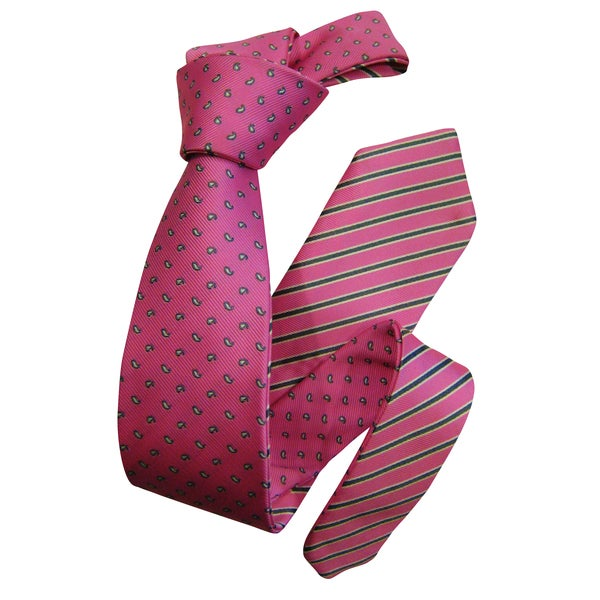 Dmitry Men's Pink Double-Sided Stripe/Paisley Patterned Italian Silk Tie