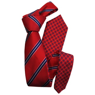 Dmitry Men's Red Patterned Double-sided Italian Silk Tie and Pocket Square