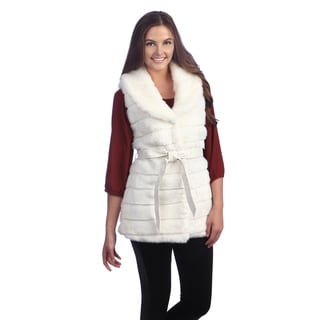 Women's White Vegan Fur Belted Vest