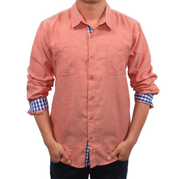 Filthy Etiquette Men's Salmon Chambray Slim Fit Shirt