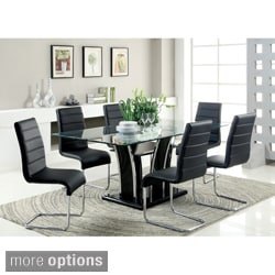 Ziana Contemporary 7-piece Rectangular Tempered Glass Table Dining Set
