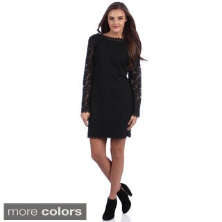 Bacci Women's 'Lynda' Long Sleeve Lace Dress