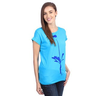 Organically Grown Women's 'Dandelion Virtue' Turquoise Boat Neck Top