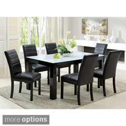 Furniture of America Magnolia Blithe Contemporary 7-piece Tempered Glass Dining Set