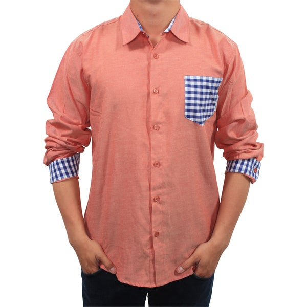 Filthy Etiquette Men's Plaid Pocket Chambray Slim Fit Shirt
