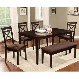 Furniture of America Normandie 6-Piece Espresso Dinette Set with Bench