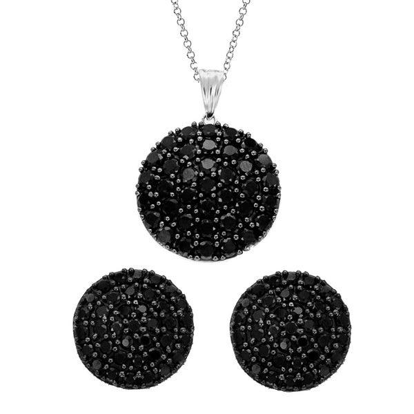 Sterling Silver Black Spinel Circle Stud Earrings and Necklace Set
