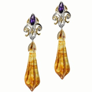 Michael Valitutti Two-tone Silver Amber, Amethyst and Orange Sapphire Earrings
