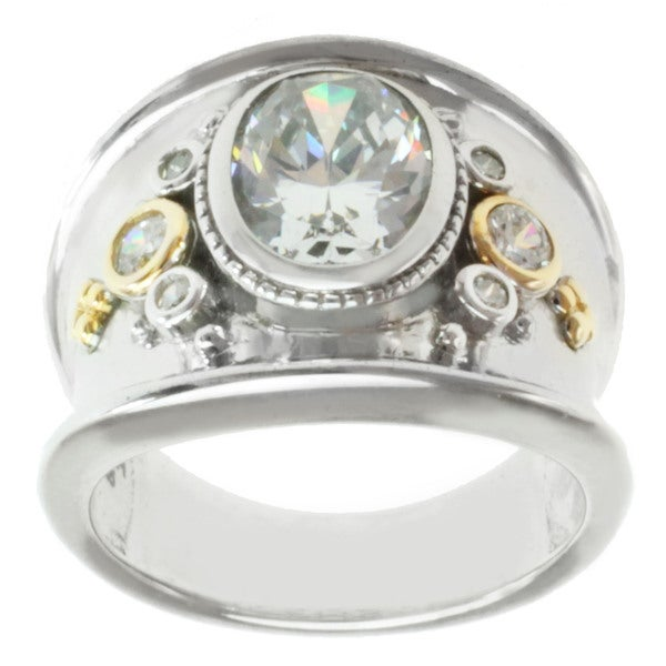 Michael Valitutti Sterling Silver and 14-karat Yellow Gold Cubic Zirconia Ring