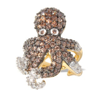 Critters Gold over Silver Brown and White Cubic Zirconia Octopus Ring