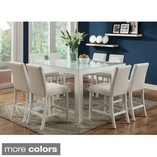 Furniture of America Magnolia Blithe 9-piece Tempered Glass Counter Height Dining Set (Set of 9)