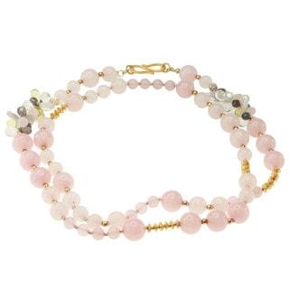 Michael Valitutti Gold over Silver Morganite, Rose Quartz, Lemon Quartz, Labradorite and Keshi Pearl Necklace (5-12 mm)