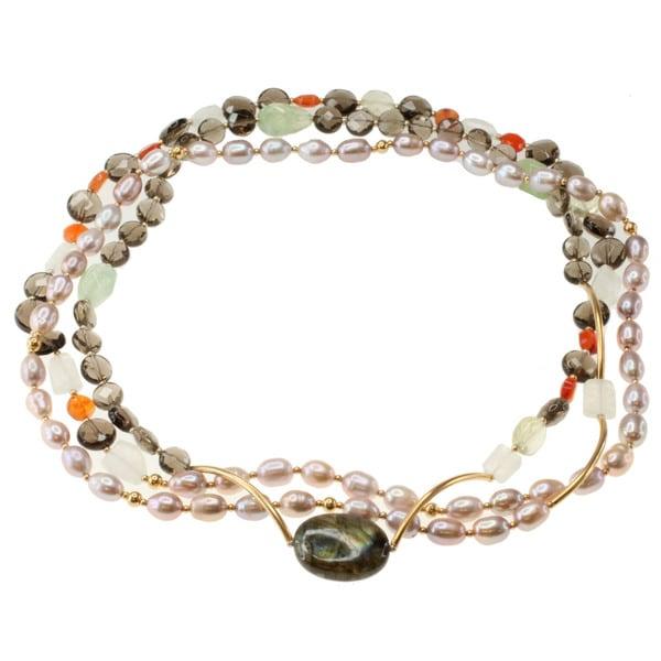 Michael Valitutti Gold over Silver Lavender Pearl, Labradorite, Moonstone, Carnelian, Prehnite and Quartz Necklace (6-10 mm)