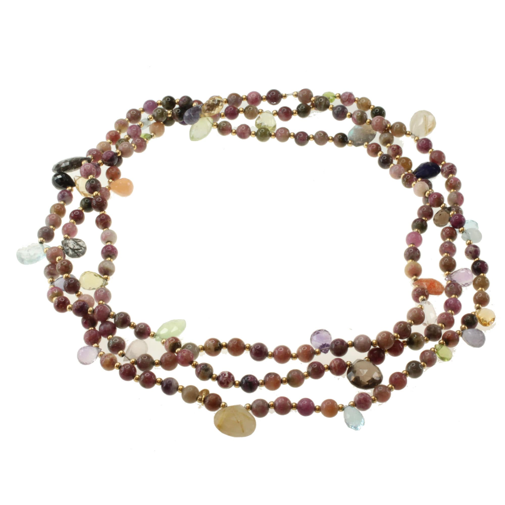 Michael Valitutti Gold over Silver Tourmaline and Multi-gemstone Necklace