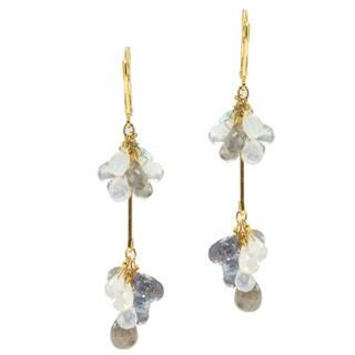 Michael Valitutti/ Kristen Gold over Silver Labradorite, Iolite, Blue Topaz and Moonstone Briolette Earrings
