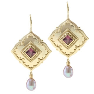 Michael Valitutti/ Zaffiro Gold over Silver Rhodolite and Pink Pearl Earrings (8-10 mm)