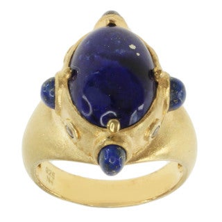Michael Valitutti Gold over Silver Lapis and White Sapphire Ring