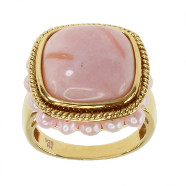 Michael Valitutti/ Kristen Gold over Silver Pink Opal and Pink Pearl Ring (3-3.5 mm)
