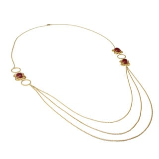 Michael Valitutti/ Kristen Gold over Silver Red Jade Necklace