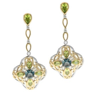 Michael Valitutti Two-tone Silver Peridot, London Blue Topaz and White Sapphire Earrings