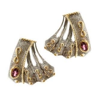Michael Valitutti Two-tone Silver Rhodolite Earrings