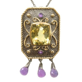 Michael Valitutti Two-tone Silver Lemon Quartz and Amethyst Necklace/ Brooch