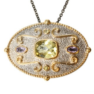 Michael Valitutti Two-tone Silver Lemon Quartz, Rose de France and Yellow Sapphire Necklace/ Brooch