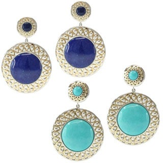 Michael Valitutti/ Jason Two-tone Silver Mexican Turquoise or Lapis and Blue Jade Earrings