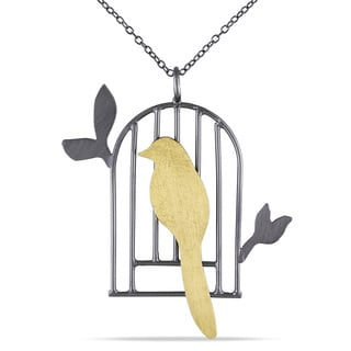 Two-tone Silver Yellow Bird Necklace