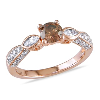 Miadora 14k Rose Gold 1ct TDW Brown and White Diamond Engagement Ring (G-H, I1-I2)