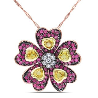 Miadora 14k Rose Gold Multi-sapphire and 1/4ct TDW Diamond Necklace (G-H, SI1-SI2)