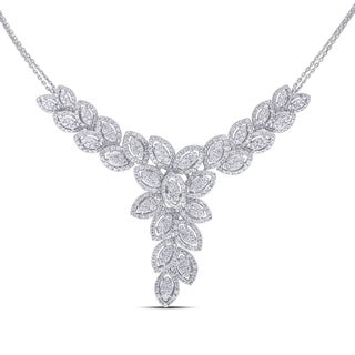 Miadora 14k White Gold 3 3/8ct TDW Vintage Leaf Diamond Necklace