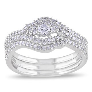 Miadora 10k White Gold 1/2ct TDW Diamond Bridal Set (H-I, I2-I3)