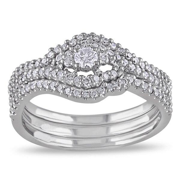 Miadora 10k White Gold 1/2ct TDW Diamond Bridal Set (H-I, I2-I3)