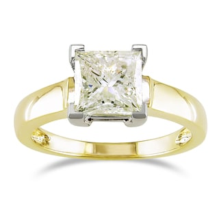 SHIRA 14k Gold Certified 2ct TDW Princess Cut Solitaire Diamond Ring (U-V, VS1)