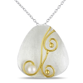M by Miadora Two-tone Silver White Pearl Necklace (5 mm)