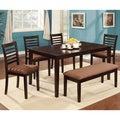 Marvi 6-piece Espresso Urban Dining Set with Bench