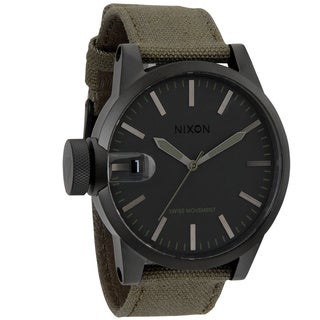 Nixon Men's 'Chronicle' Matte Black/ Green Surplus Strap Watch