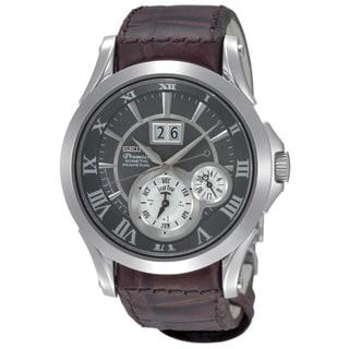 Seiko Men's 'Premier' SNP025P1 Leather Strap Automatic Watch