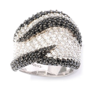 Wave Design Sterling Silver Black Spinel and White Zircon Ring