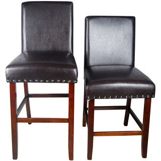 Castillian Luxury Brown Faux Leather Barstool and Nail Head Detail
