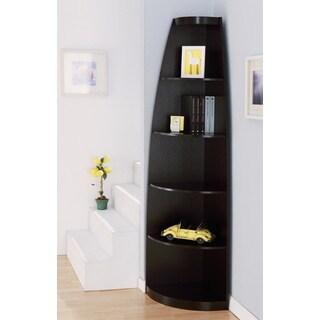 Furniture of america skyler modern cappuccino 5 shelf for Modern corner bookshelf