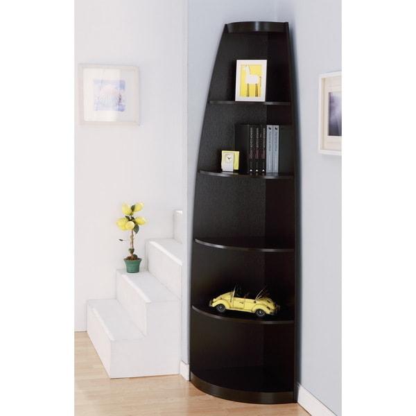 Furniture of America Skyler Modern Cappuccino 5-shelf Corner Bookshelf Display Unit