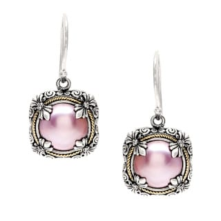 18k Gold and Silver Pink Mabe Pearl and 4/5ct TDW Diamond Earrings (I, VS1-VS2)