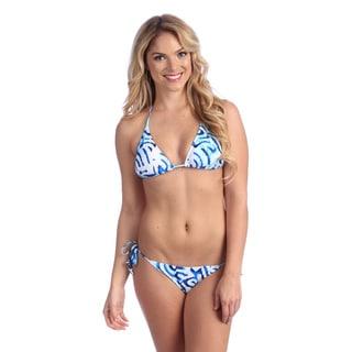 Blue Print Triangle Top String Bikini