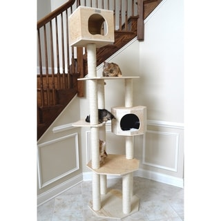"Armarkat Premium Scots Pine Wood 85"" Cat Tree - wood grain"