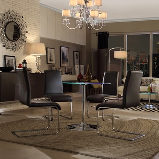 INSPIRE Q Lorin LED Round Chrome/ Black Dining Table
